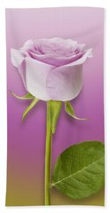 Single Lilac Rose Hand Towel