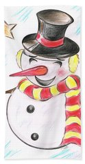 Snowmans  Stardom Hand Towel by Teresa White
