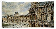 Bath Towel featuring the painting  The Louvre Museum by Joey Agbayani