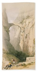Triumphal Arch Crossing The Ravine Leading To Petra Bath Towel