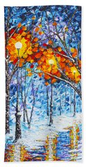 Silence Winter Night Light Reflections Original Palette Knife Painting Hand Towel