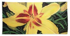Yellow Lily Bath Towel by Sharon Duguay
