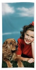 1940s 1950s Smiling Teen Girl Bath Towel