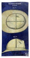 1941 Firemans Helmet Patent Drawing 2 Tone  Bath Towel