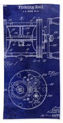 1943 Fishing Reel Patent Drawing Blue Bath Towel