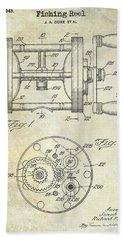1943 Fishing Reel Patent Drawing Bath Towel