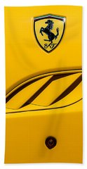 Bath Towel featuring the photograph 2010 Ferrari California Side Emblem by Jill Reger