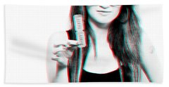 3d Woman Holding Movie Tickets Hand Towel