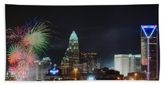 4th Of July Firework Over Charlotte Skyline Hand Towel