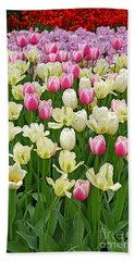 Bath Towel featuring the digital art A Field Of Tulips by Eva Kaufman