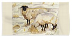 Hand Towel featuring the painting A Peaceful Winter by Angela Davies