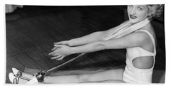 A Young Woman Exercising Hand Towel