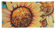 Hand Towel featuring the painting Abstract Sunflowers by Chrisann Ellis