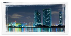 Hand Towel featuring the photograph American Airlines Arena And Condominiums by Carsten Reisinger