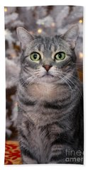 American Shorthair Cat With Holiday Tree Hand Towel