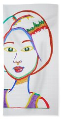 Hand Towel featuring the painting Anime Asian Girl by Stormm Bradshaw