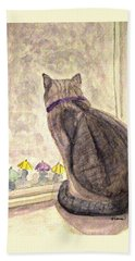 Hand Towel featuring the painting April Showers by Angela Davies