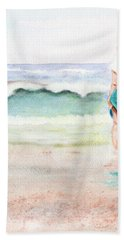 Bath Towel featuring the painting At The Beach by C Sitton