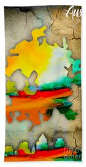 Austin Map And Skyline Watercolor Hand Towel by Marvin Blaine