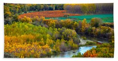 Autumn Colors On The Ebro River Bath Towel