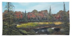 Bath Towel featuring the painting Autumn Landscape by Jan Dappen