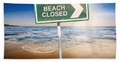 Beach Closed Sign On Australian Landscape Hand Towel