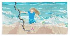 Hand Towel featuring the digital art Beach Rainbow Girl by Kim Prowse