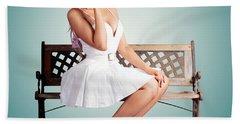 Beautiful Blond Woman In Retro American Fashion Bath Towel
