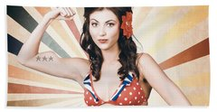 Beautiful Pinup Girl Flexing Muscle. Strength And Conditioning Hand Towel