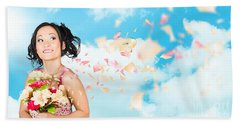 Beautiful Young Woman Holding Spring Flower Bunch  Hand Towel