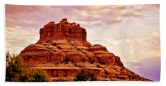 Bell Rock Vortex Painting Hand Towel by Bob and Nadine Johnston