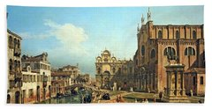 Bellotto's The Campo Di Ss. Giovanni E Paolo In Venice Bath Towel by Cora Wandel
