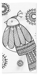 Bird Dove Hand Towel by Neeti Goswami