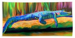Blue Alligator Hand Towel