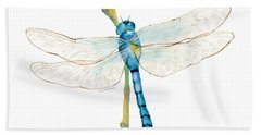 Blue Dragonfly Hand Towel by Amy Kirkpatrick