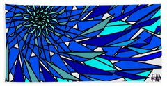 Hand Towel featuring the digital art Blue Sun by Elizabeth McTaggart