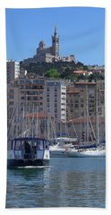 Boats At Old Port, Marseille Hand Towel