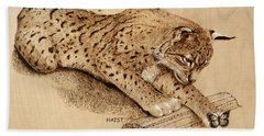 Bobcat And Friend Bath Towel by Ron Haist