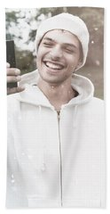 British Man On Smartphone Call In Winter Snow Bath Towel