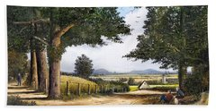 Hand Towel featuring the painting Bromyard Downs by Ken Wood