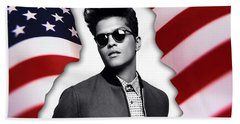 Bruno Mars Bath Towel by Marvin Blaine