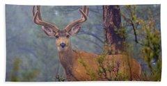 Buck Deer In A Mystical Foggy Forest Scene Bath Towel