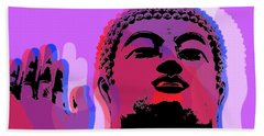 Bath Towel featuring the digital art Buddha Pop Art - Warhol Style by Jean luc Comperat