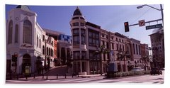 Buildings Along The Road, Rodeo Drive Hand Towel by Panoramic Images