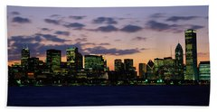Buildings In A City At Dusk, Chicago Bath Towel