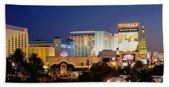 Buildings Lit Up At Dusk, Las Vegas Hand Towel