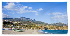 Burriana Beach In Nerja Hand Towel