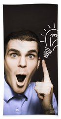Business Man Pointing To Light Bulb Illustration Hand Towel
