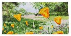 Bath Towel featuring the painting California Poppies by Irina Sztukowski