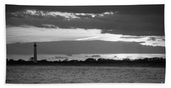 Cape May Lighthouse Sunset Bw Hand Towel